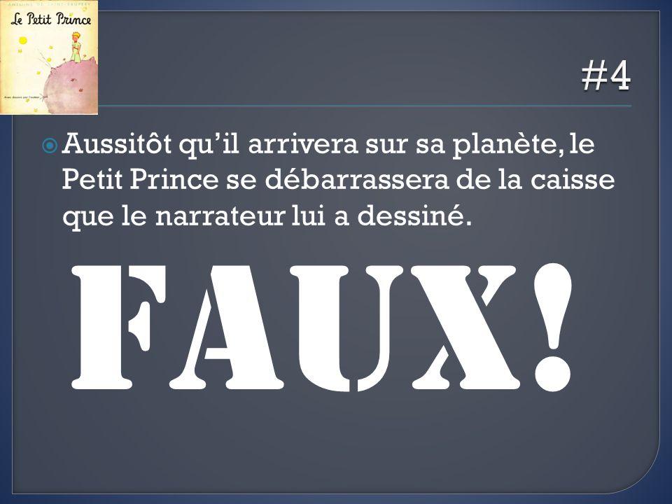 #4 Aussitôt qu'il arrivera sur sa planète, le Petit Prince se débarrassera de la caisse que le narrateur lui a dessiné.