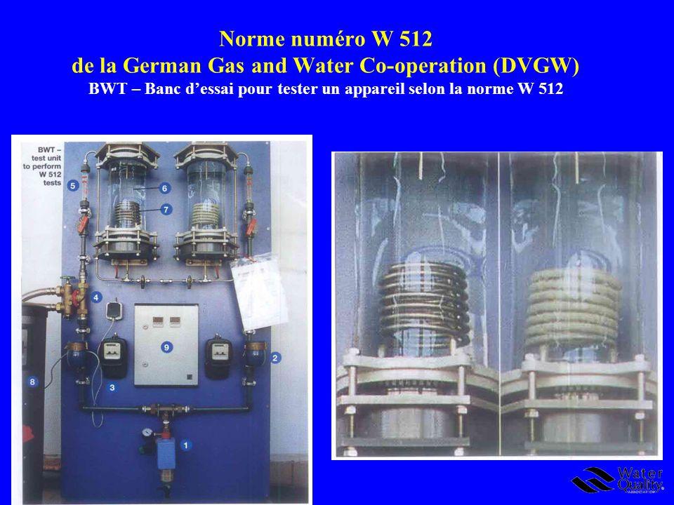 Norme numéro W 512 de la German Gas and Water Co-operation (DVGW) BWT – Banc d'essai pour tester un appareil selon la norme W 512
