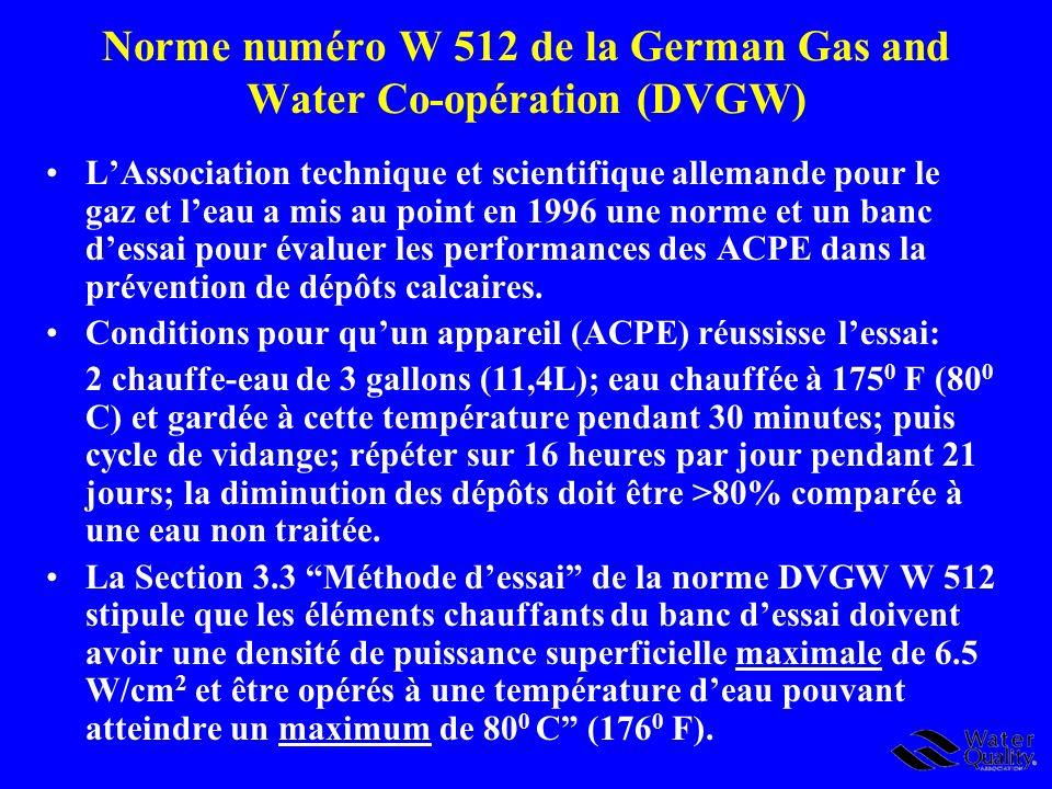 Norme numéro W 512 de la German Gas and Water Co-opération (DVGW)