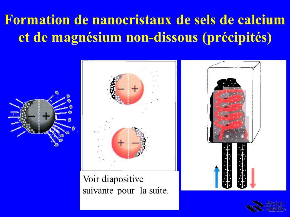 Formation de nanocristaux de sels de calcium et de magnésium non-dissous (précipités)