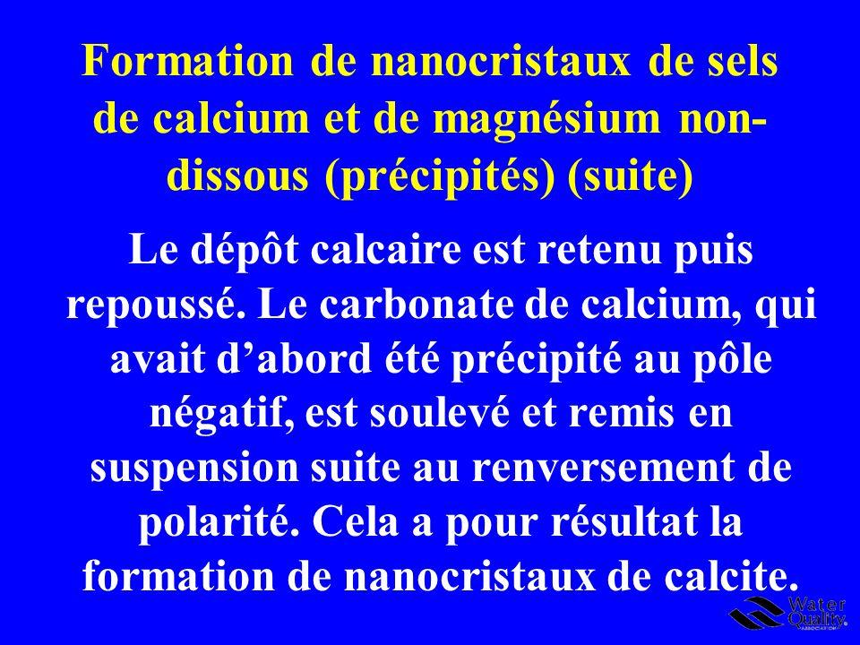 Formation de nanocristaux de sels de calcium et de magnésium non-dissous (précipités) (suite)