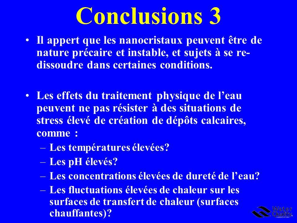 Conclusions 3 Il appert que les nanocristaux peuvent être de nature précaire et instable, et sujets à se re-dissoudre dans certaines conditions.