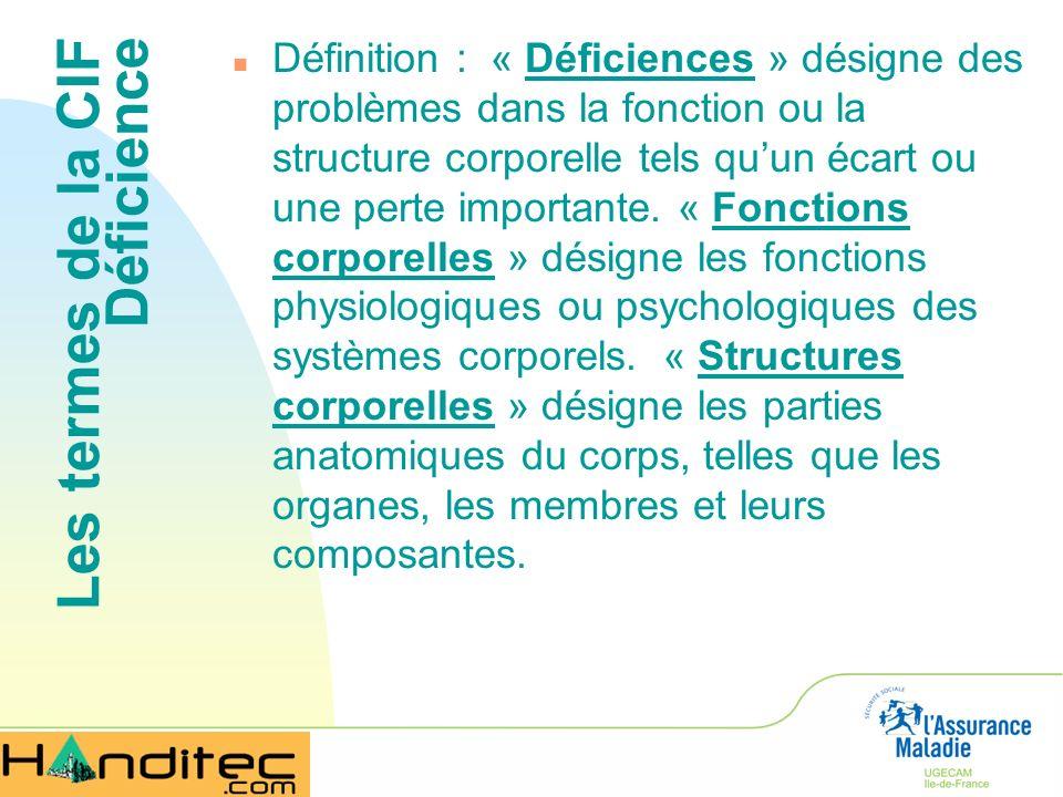 Les termes de la CIF Déficience