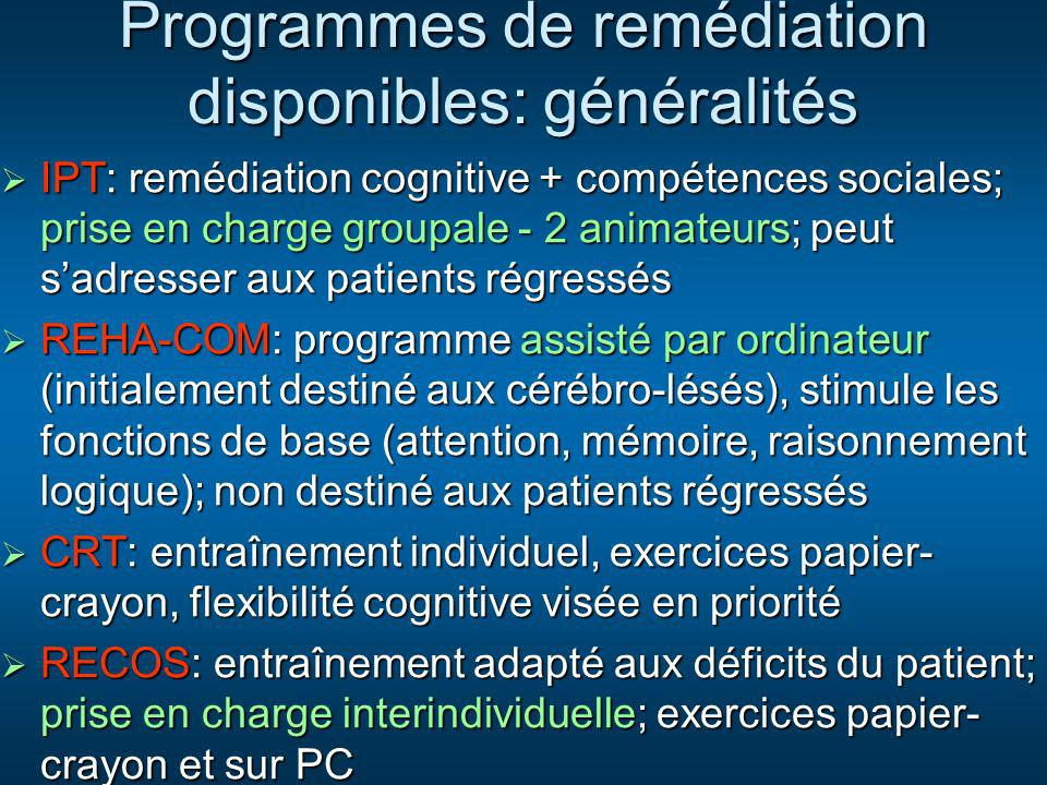 Programmes de remédiation disponibles: généralités