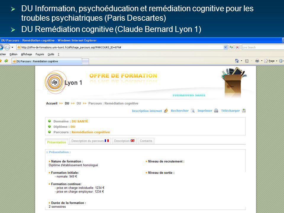DU Information, psychoéducation et remédiation cognitive pour les troubles psychiatriques (Paris Descartes)
