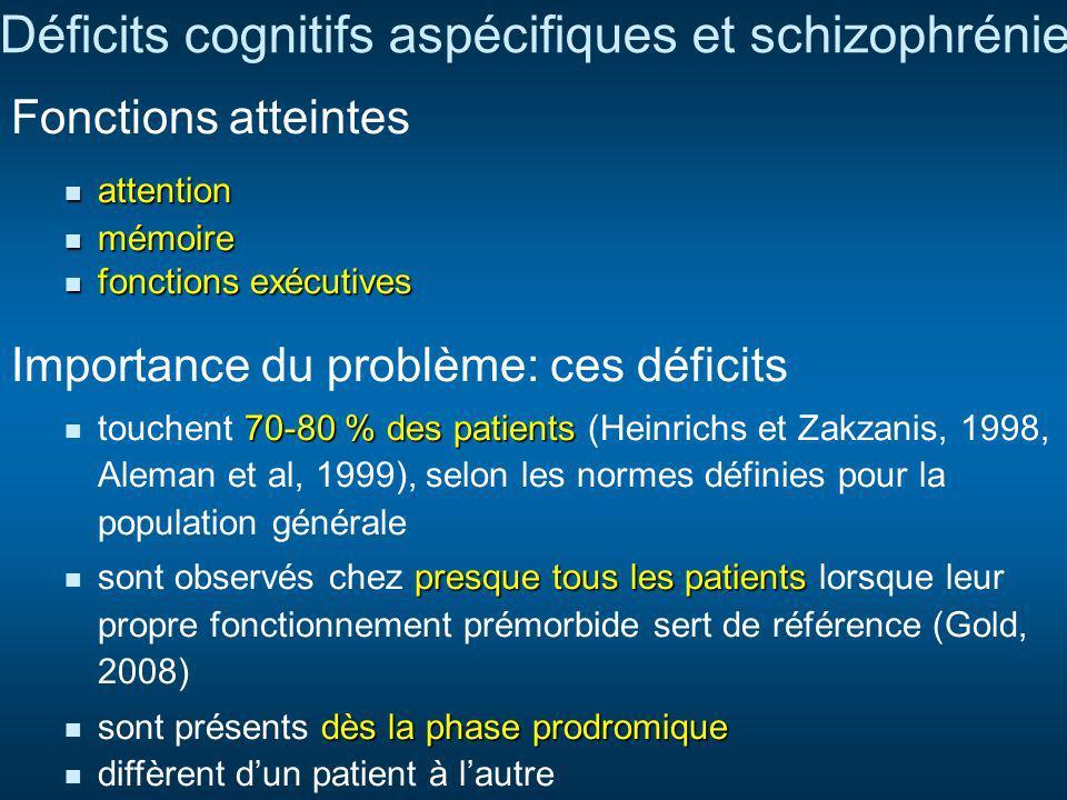 Déficits cognitifs aspécifiques et schizophrénie
