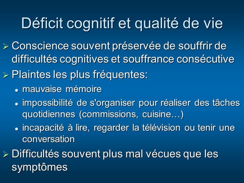 Déficit cognitif et qualité de vie