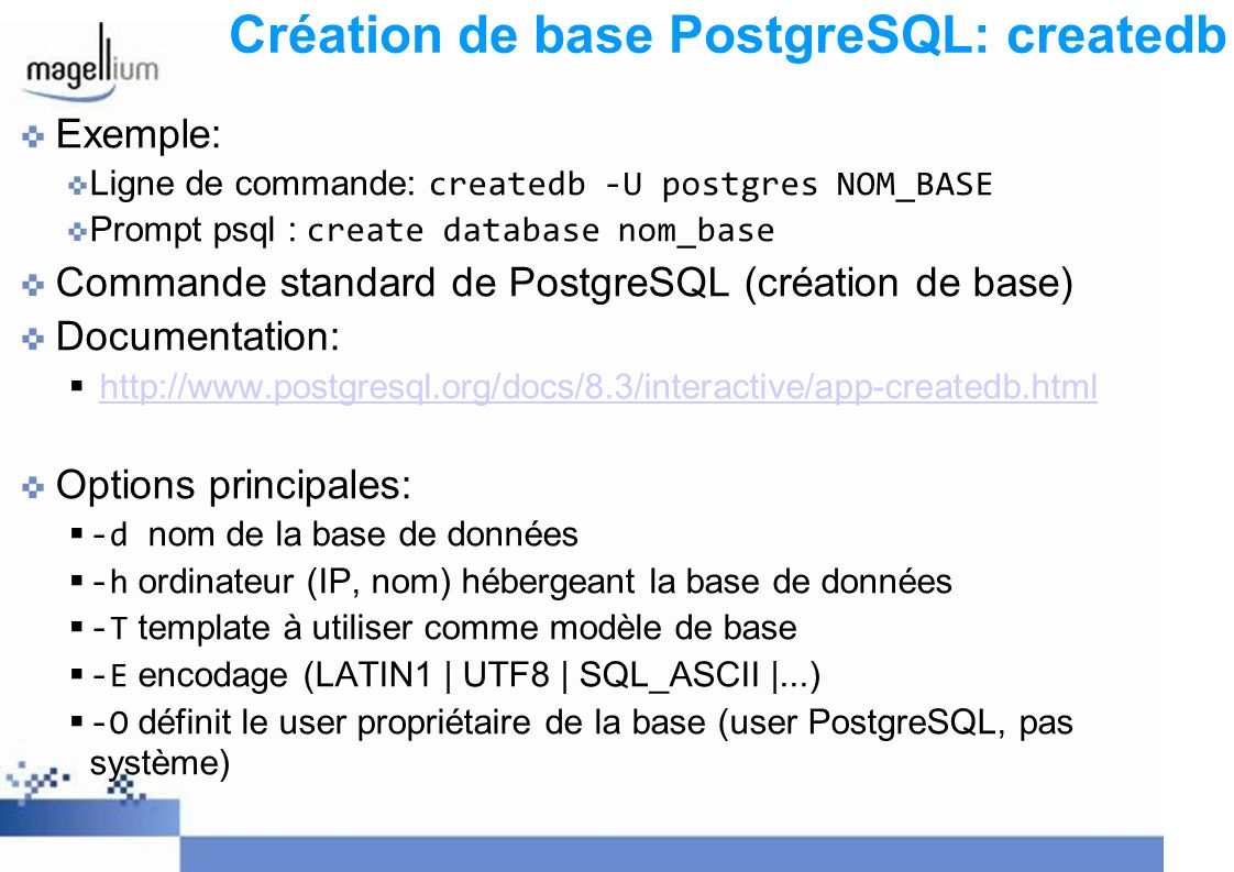 Création de base PostgreSQL: createdb