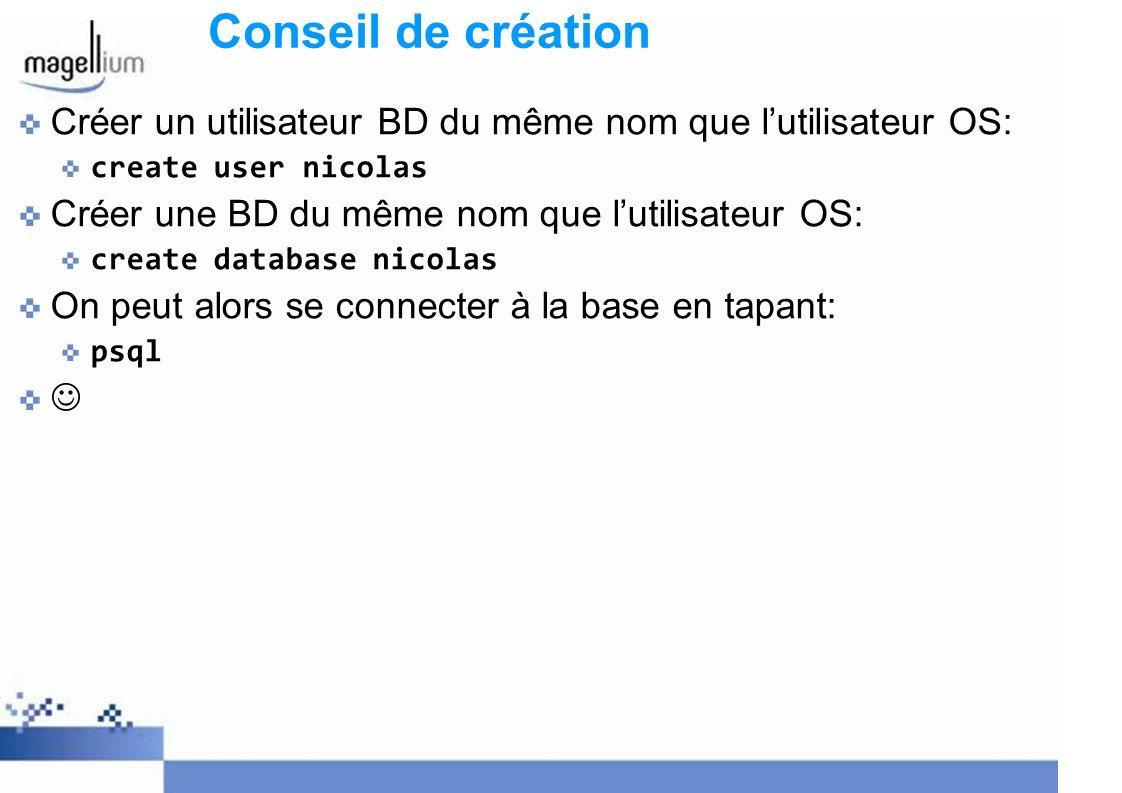Conseil de création Créer un utilisateur BD du même nom que l'utilisateur OS: create user nicolas.