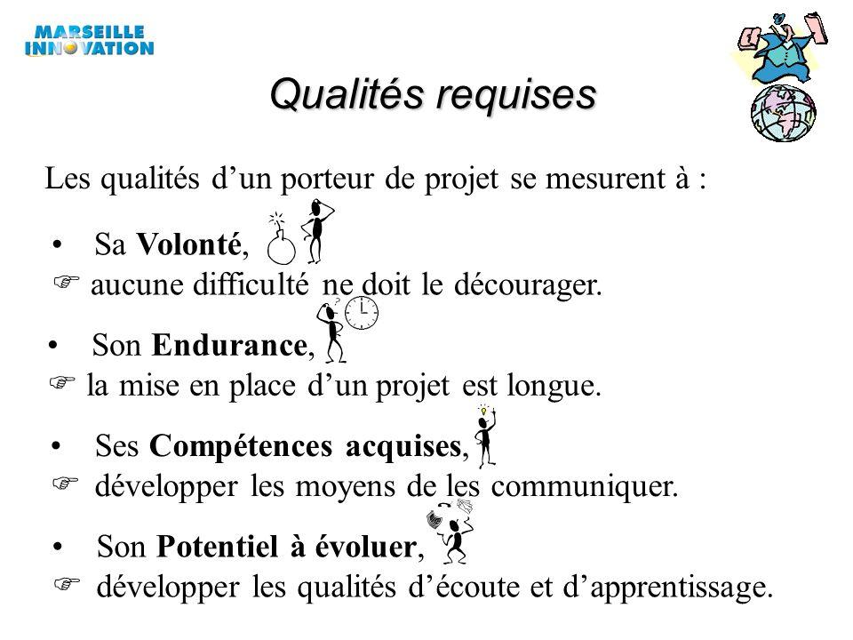 Qualités requises Les qualités d'un porteur de projet se mesurent à :