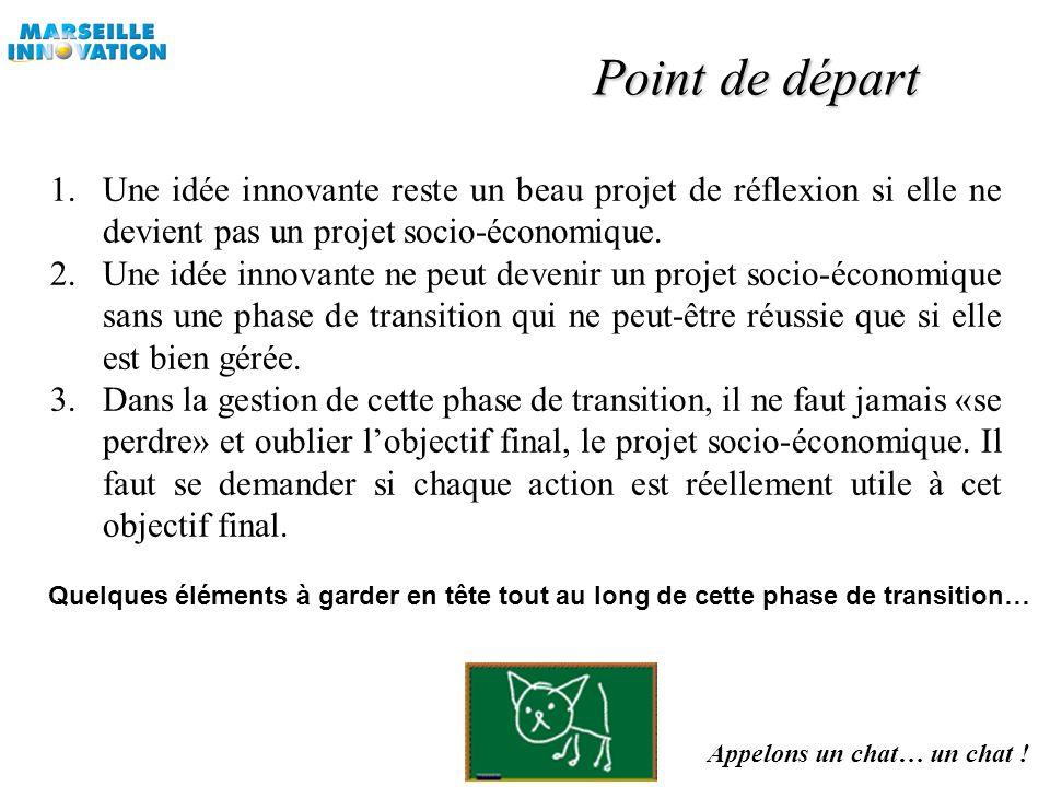 Point de départ Une idée innovante reste un beau projet de réflexion si elle ne devient pas un projet socio-économique.