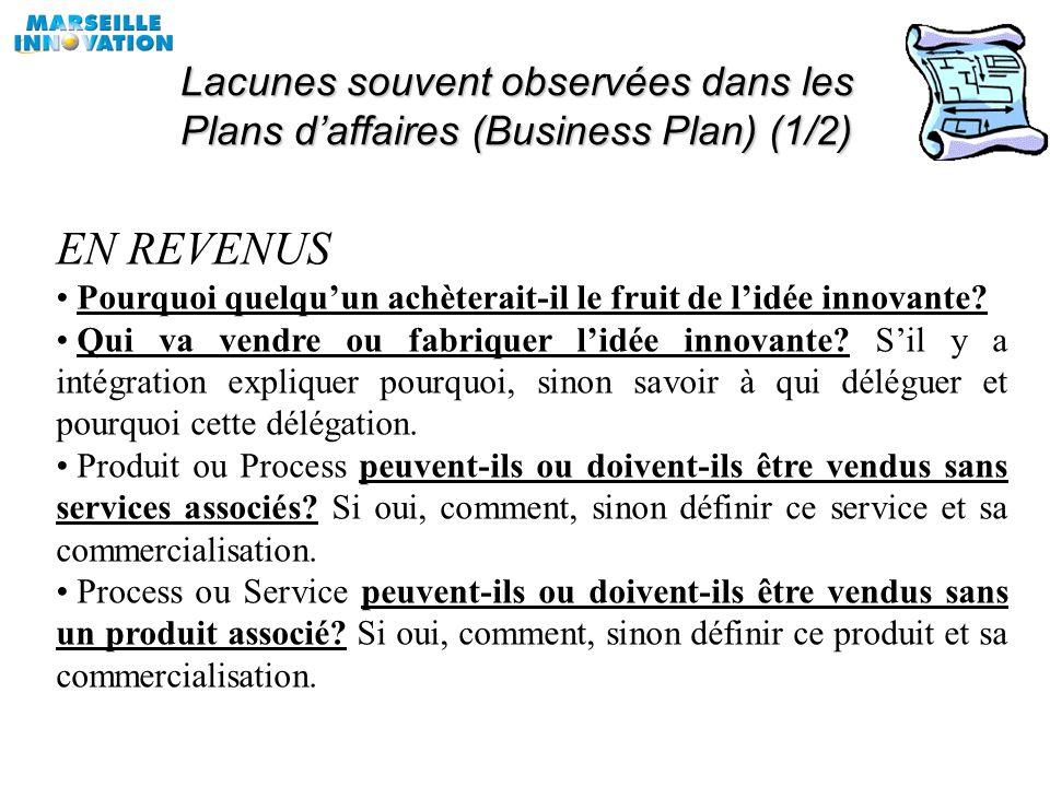 Lacunes souvent observées dans les Plans d'affaires (Business Plan) (1/2)