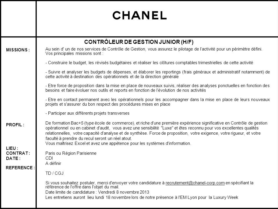 CONTRÔLEUR DE GESTION JUNIOR (H/F)