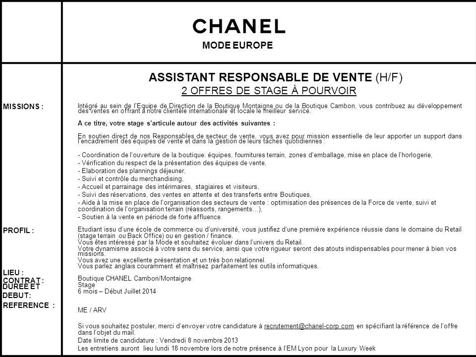 ASSISTANT RESPONSABLE DE VENTE (H/F)
