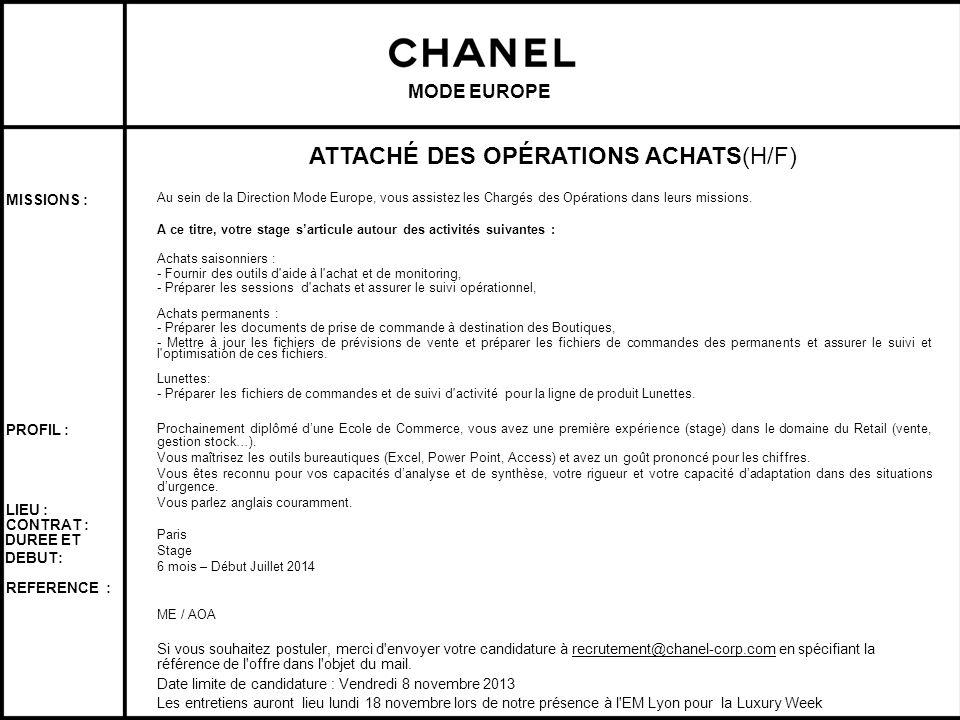 ATTACHÉ DES OPÉRATIONS ACHATS(H/F)