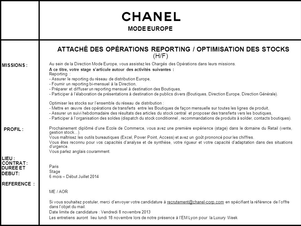 ATTACHÉ DES OPÉRATIONS REPORTING / OPTIMISATION DES STOCKS (H/F)
