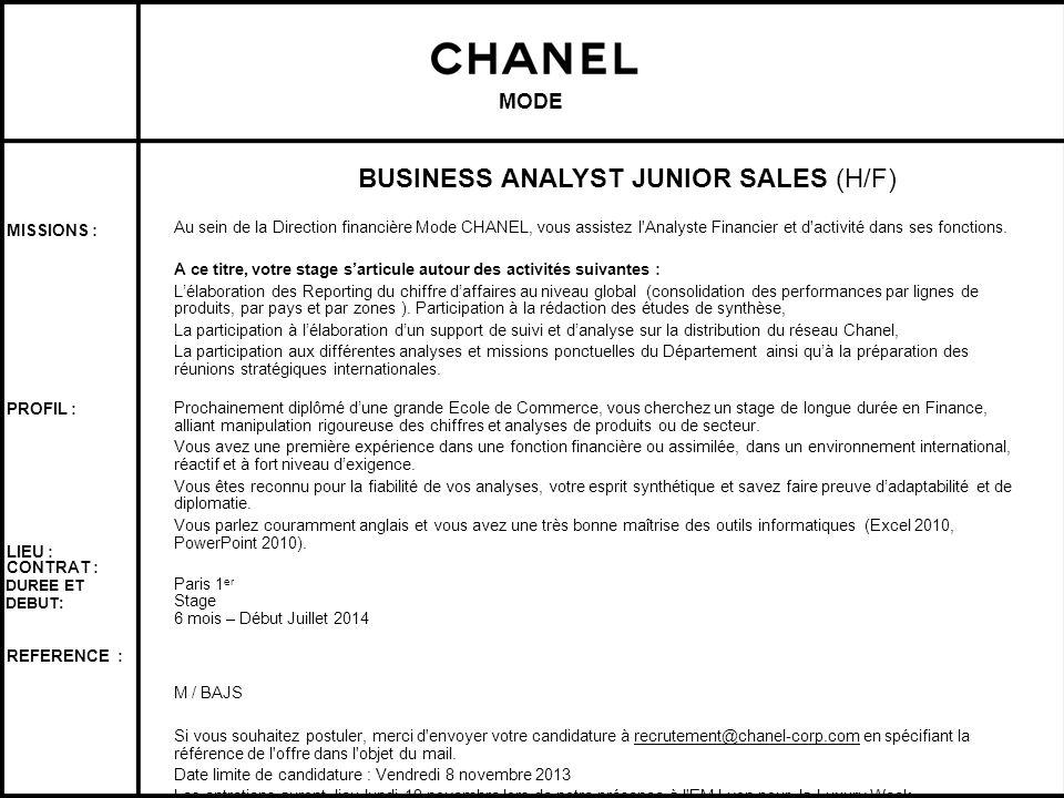 BUSINESS ANALYST JUNIOR SALES (H/F)