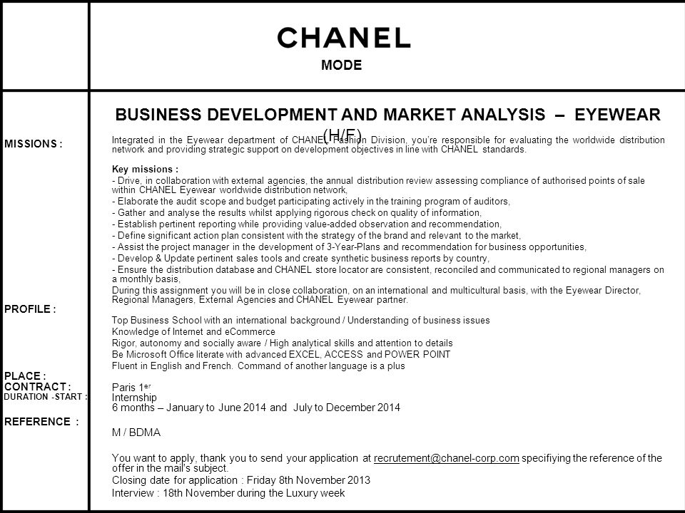BUSINESS DEVELOPMENT AND MARKET ANALYSIS – EYEWEAR (H/F)