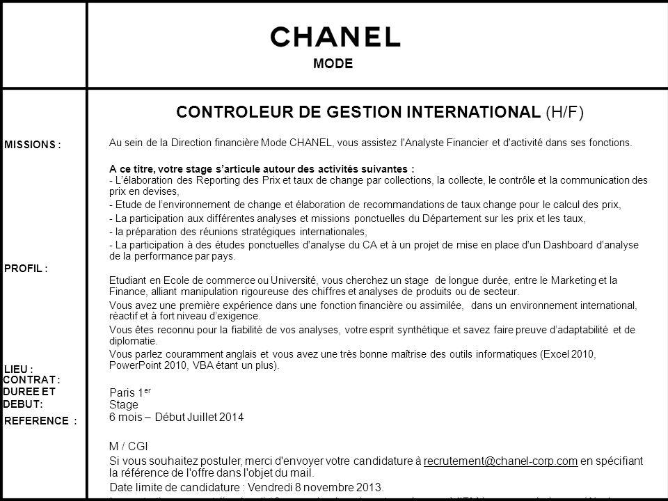 CONTROLEUR DE GESTION INTERNATIONAL (H/F)