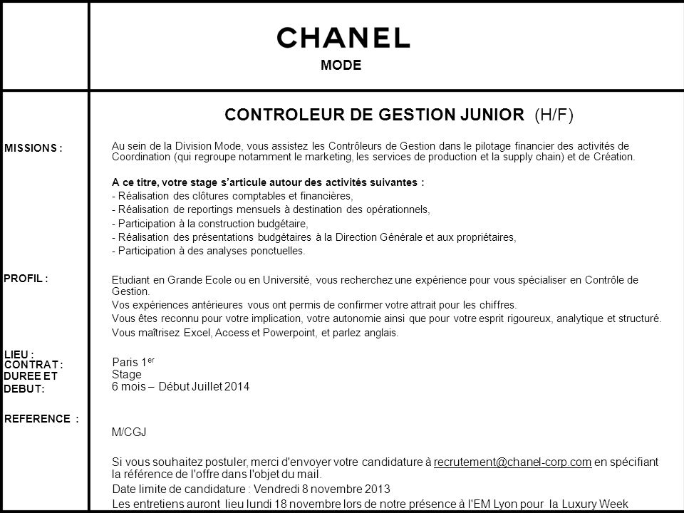 CONTROLEUR DE GESTION JUNIOR (H/F)
