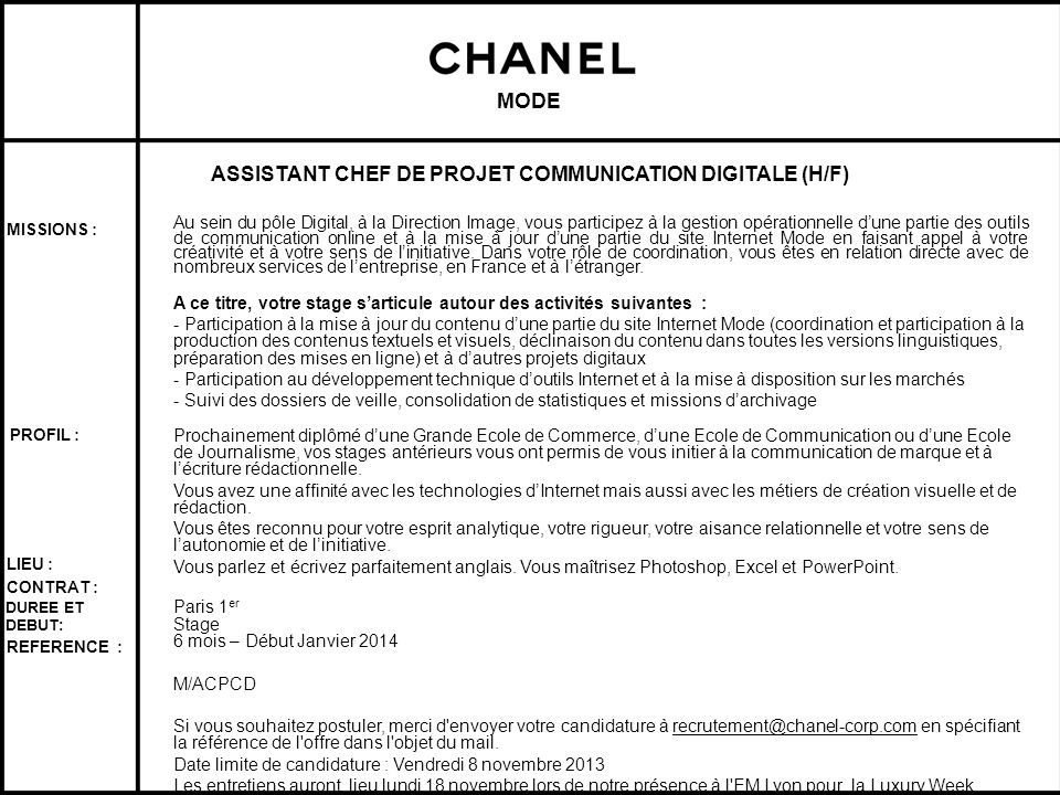 ASSISTANT CHEF DE PROJET COMMUNICATION DIGITALE (H/F)