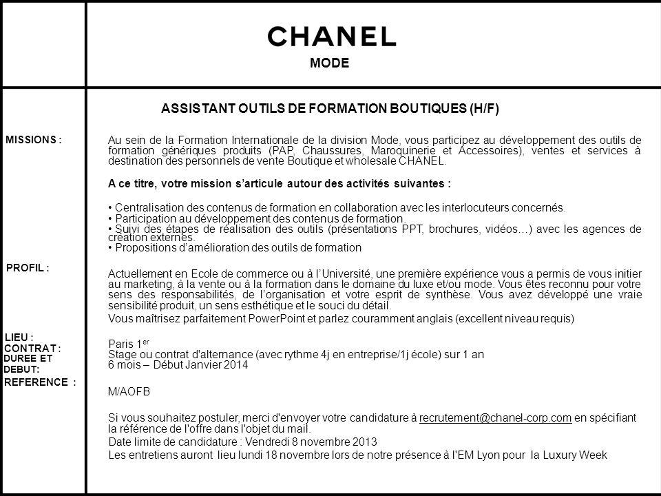 ASSISTANT OUTILS DE FORMATION BOUTIQUES (H/F)