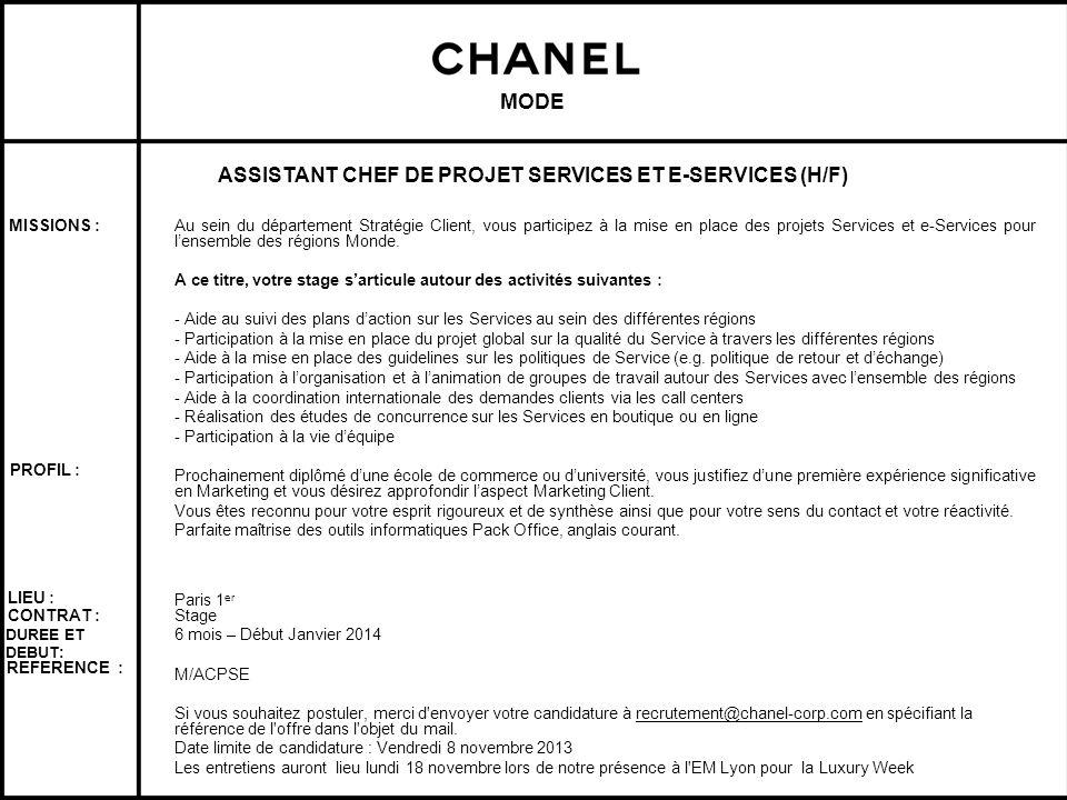 ASSISTANT CHEF DE PROJET SERVICES ET E-SERVICES (H/F)