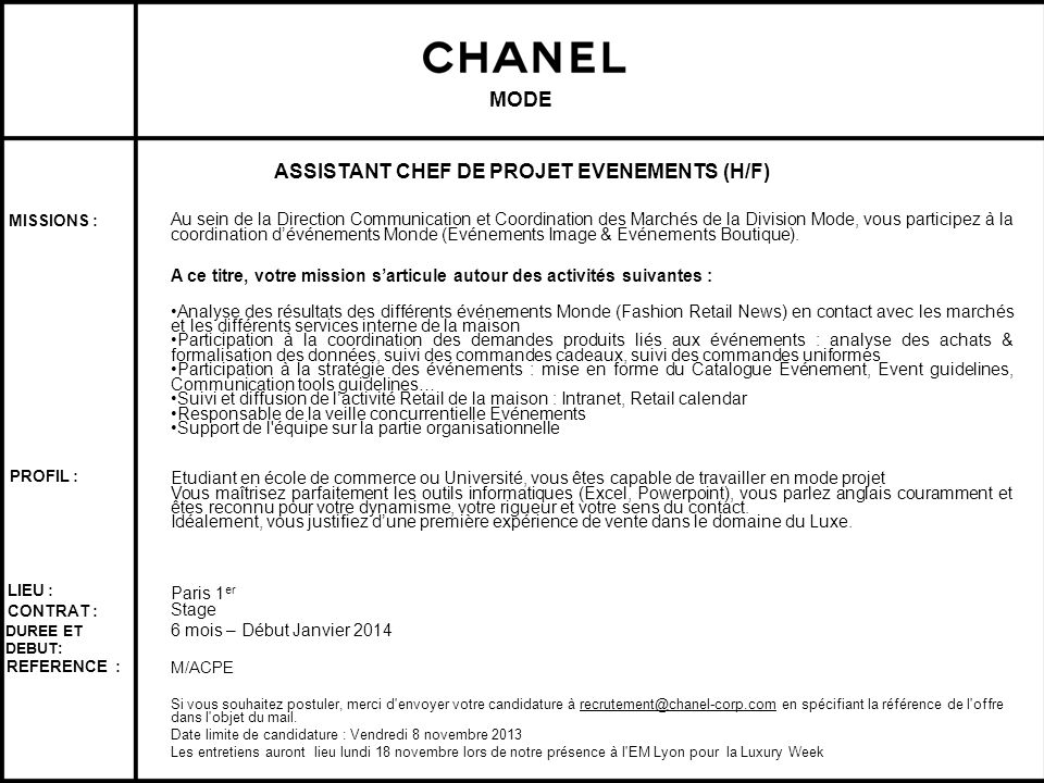 ASSISTANT CHEF DE PROJET EVENEMENTS (H/F)