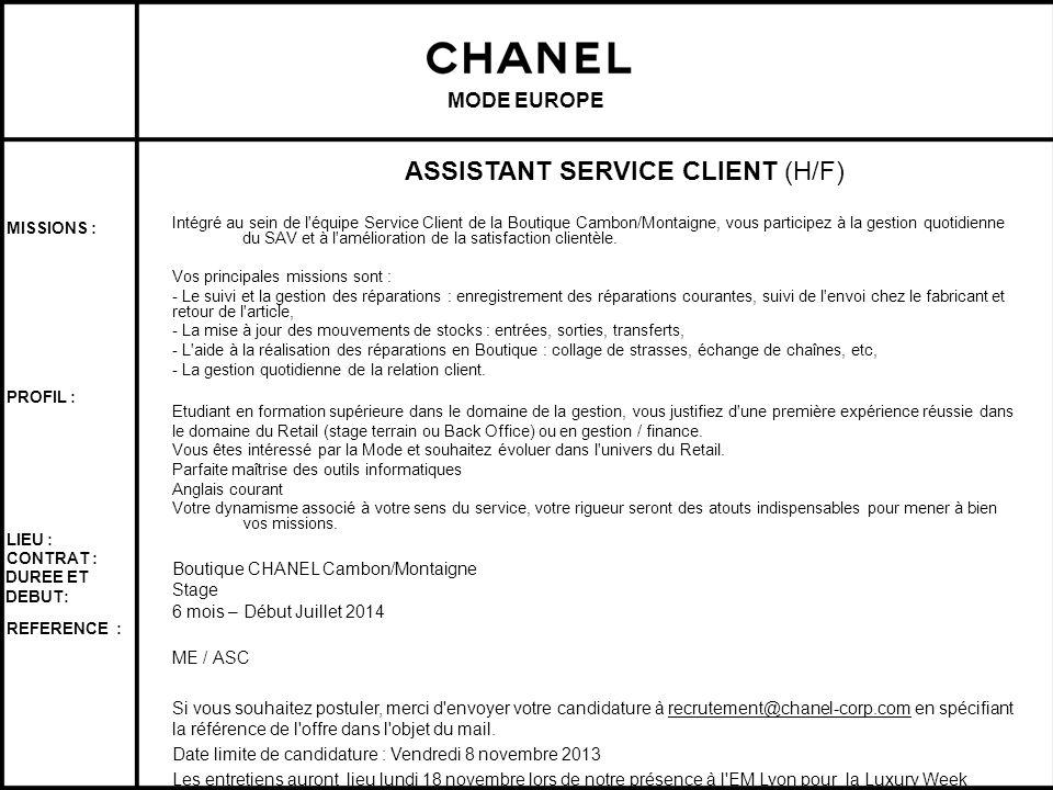 ASSISTANT SERVICE CLIENT (H/F)