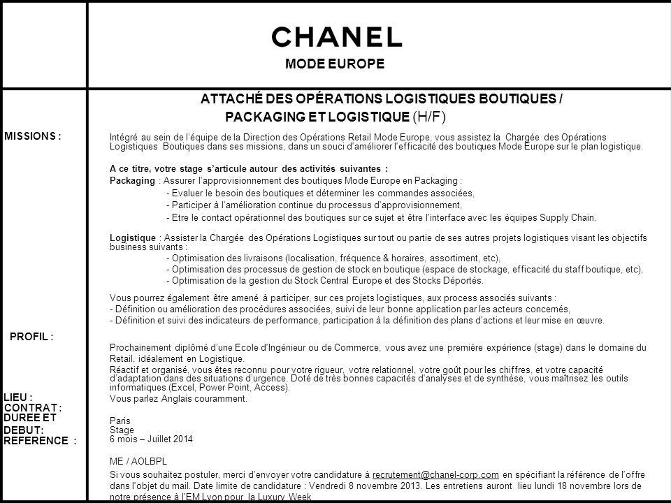 ATTACHÉ DES OPÉRATIONS LOGISTIQUES BOUTIQUES /