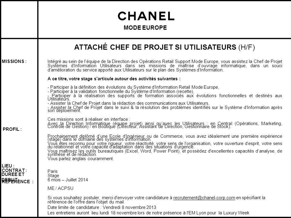 ATTACHÉ CHEF DE PROJET SI UTILISATEURS (H/F)