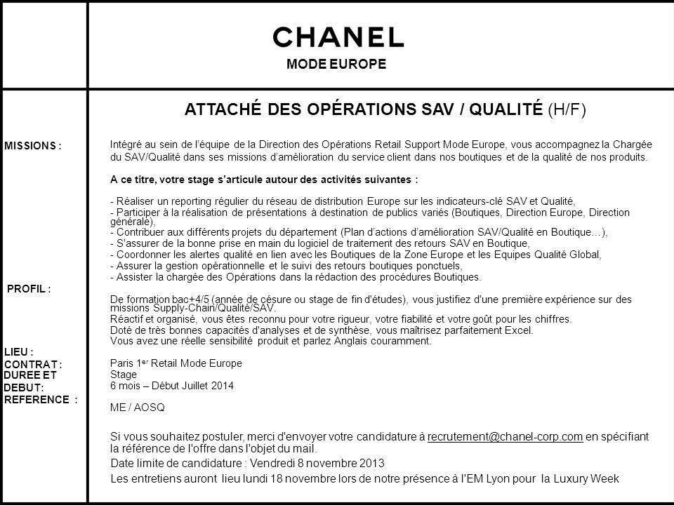 ATTACHÉ DES OPÉRATIONS SAV / QUALITÉ (H/F)