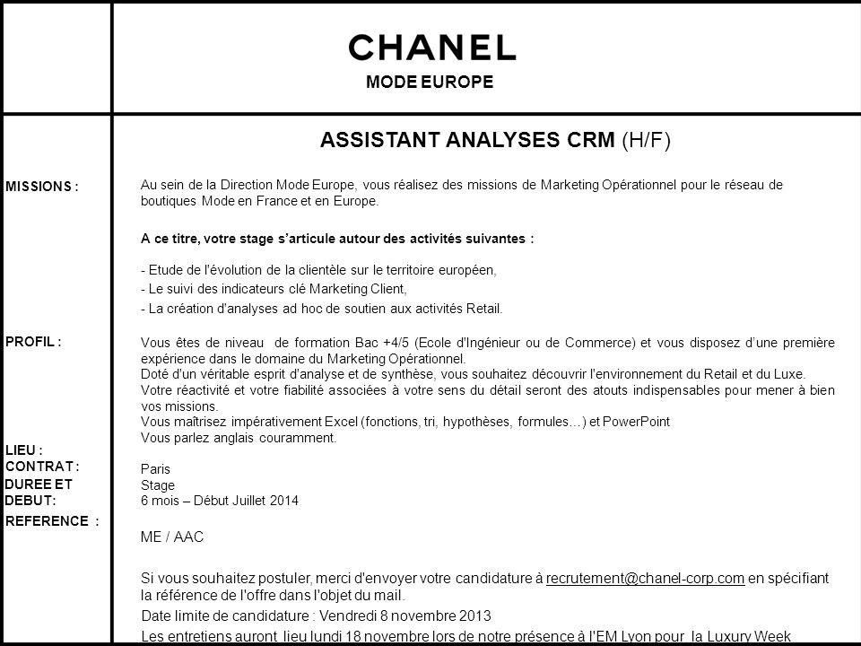 ASSISTANT ANALYSES CRM (H/F)