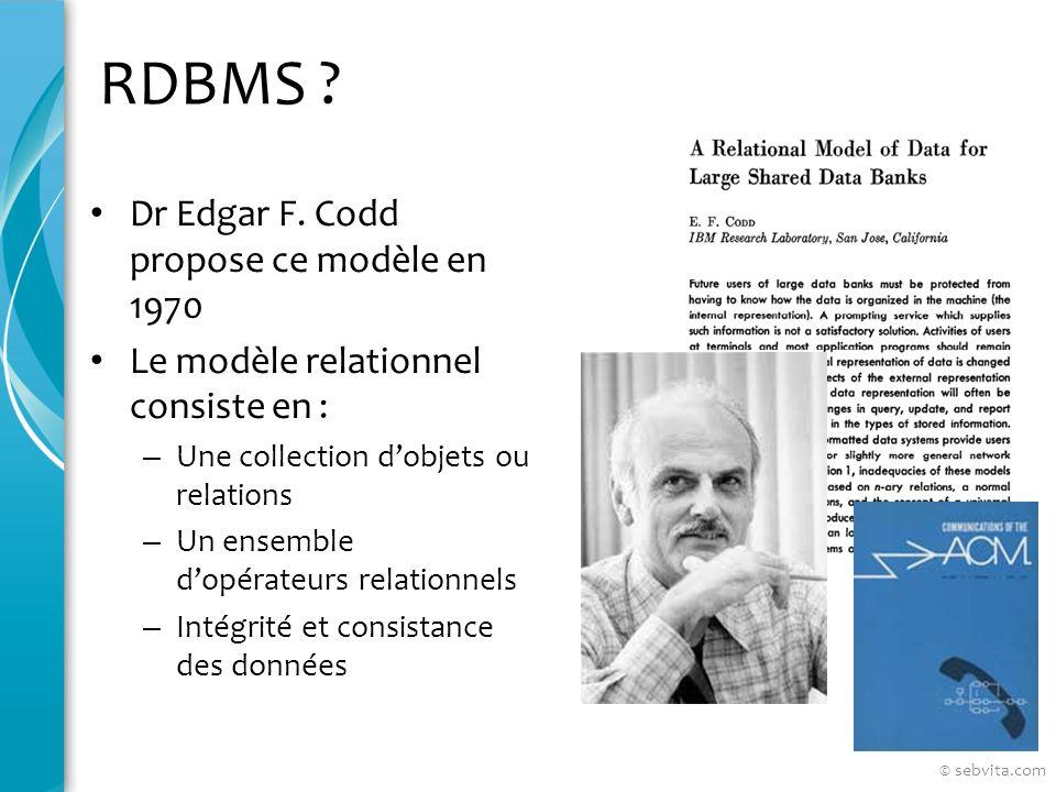 RDBMS Dr Edgar F. Codd propose ce modèle en 1970