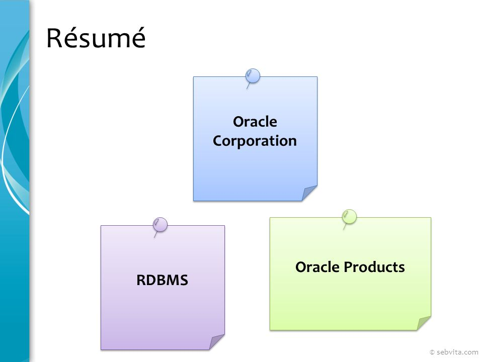 Résumé Oracle Corporation Oracle Products RDBMS