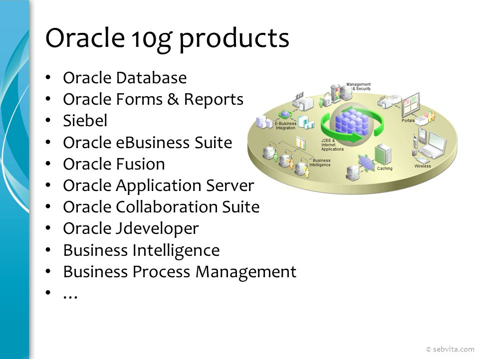 Oracle 10g products Oracle Database Oracle Forms & Reports Siebel