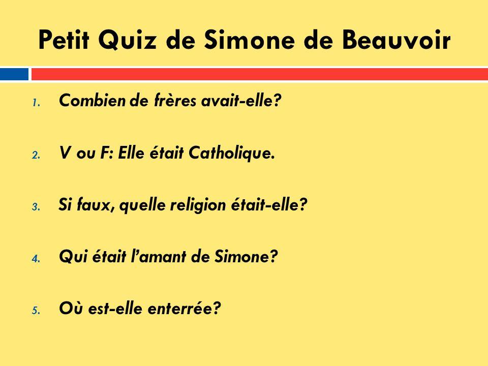 Petit Quiz de Simone de Beauvoir
