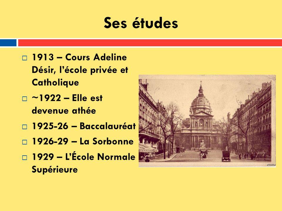 Ses études 1913 – Cours Adeline Désir, l'école privée et Catholique