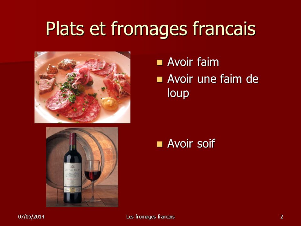 Plats et fromages francais