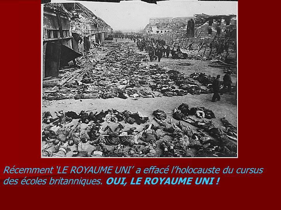 Récemment 'LE ROYAUME UNI' a effacé l'holocauste du cursus des écoles britanniques.
