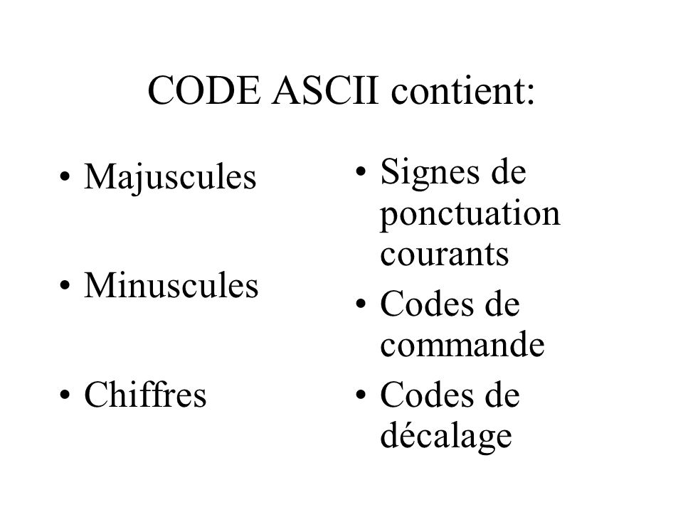 CODE ASCII contient: Majuscules Minuscules Chiffres