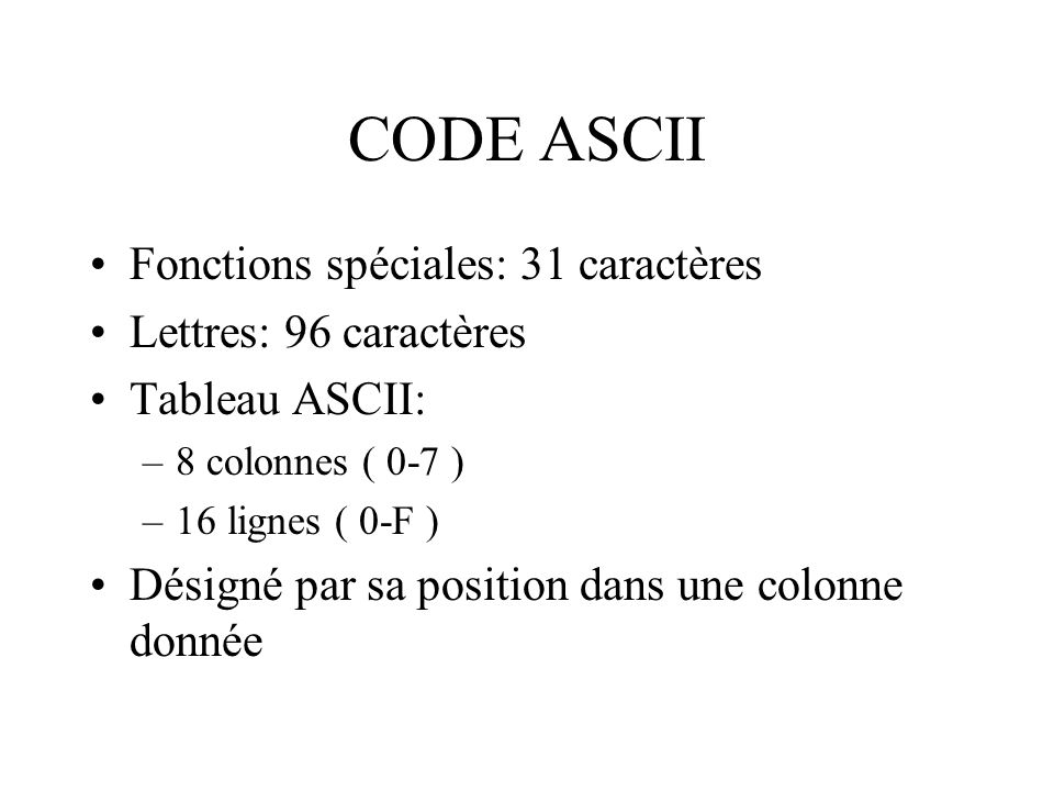 CODE ASCII Fonctions spéciales: 31 caractères Lettres: 96 caractères