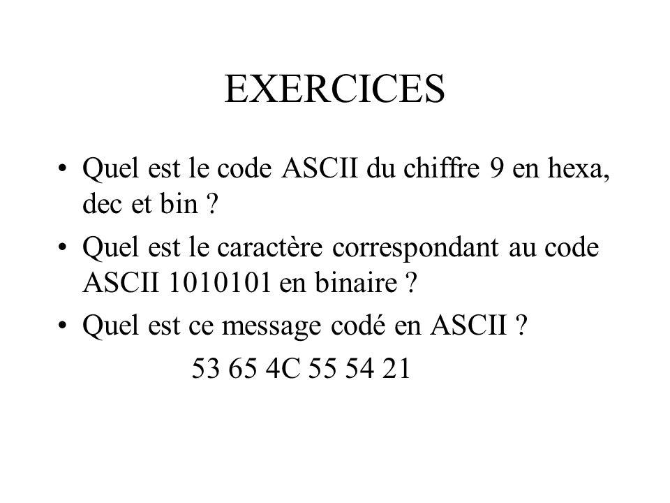 EXERCICES Quel est le code ASCII du chiffre 9 en hexa, dec et bin