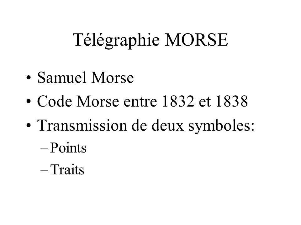 Télégraphie MORSE Samuel Morse Code Morse entre 1832 et 1838