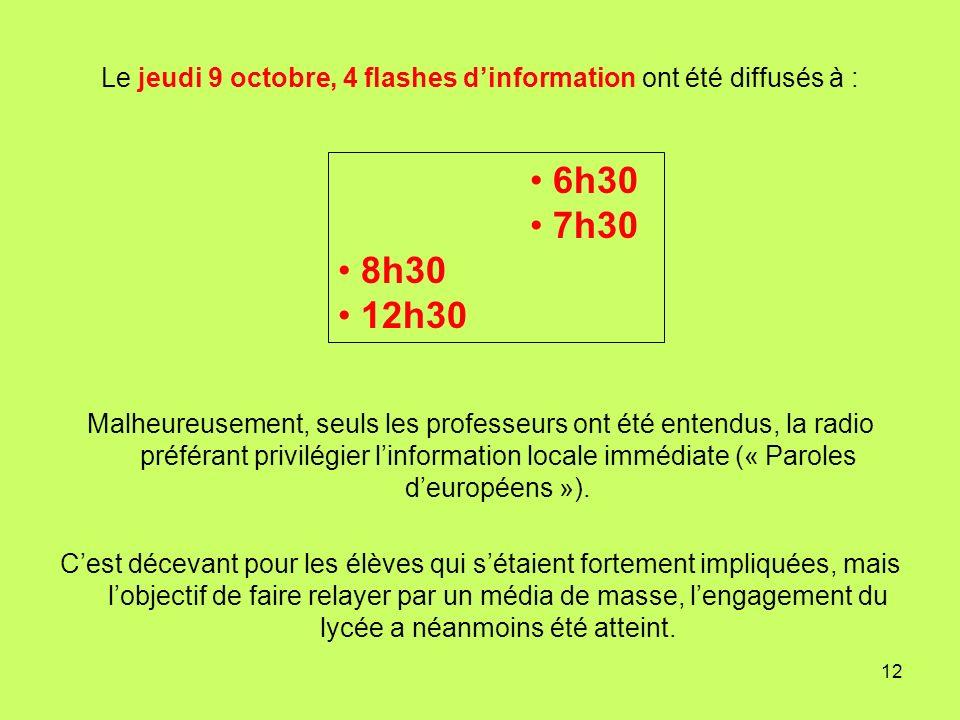 Le jeudi 9 octobre, 4 flashes d'information ont été diffusés à :