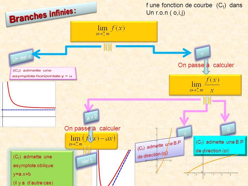 Branches infinies : f une fonction de courbe (Cf) dans