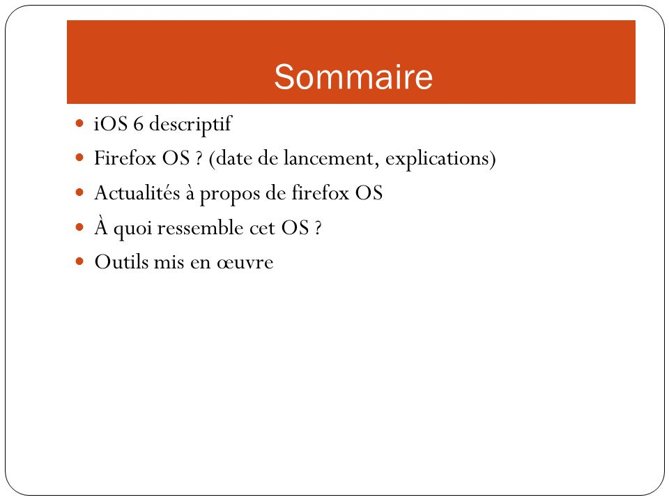 Sommaire iOS 6 descriptif