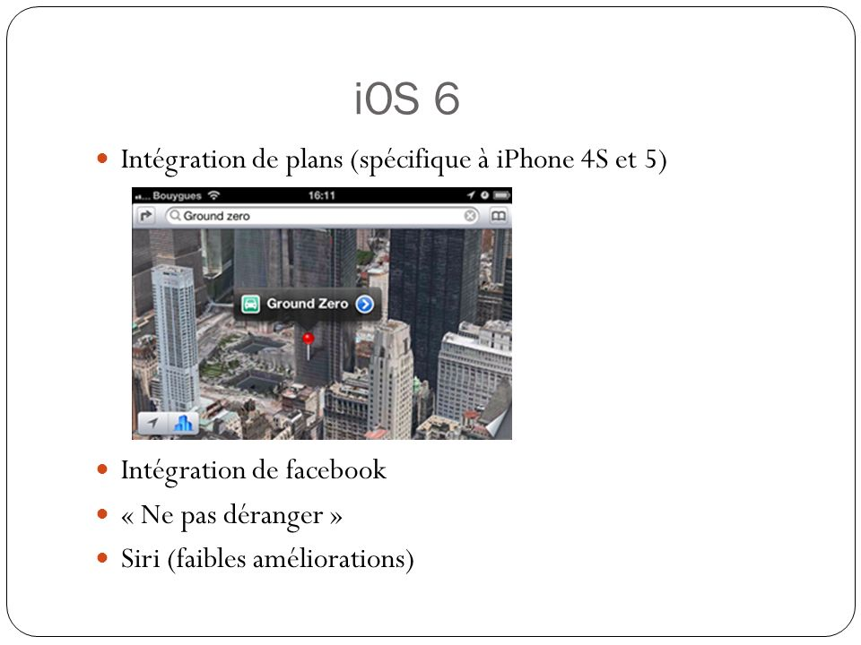iOS 6 Intégration de plans (spécifique à iPhone 4S et 5)