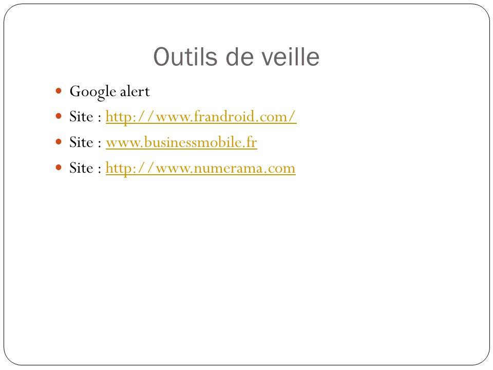 Outils de veille Google alert Site : http://www.frandroid.com/