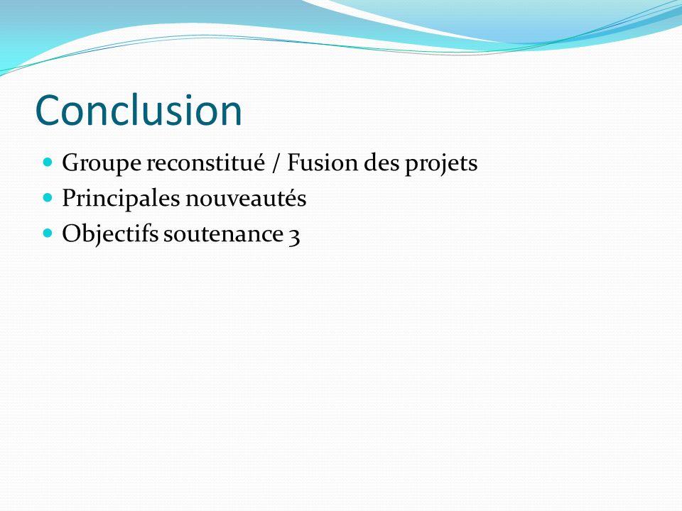Conclusion Groupe reconstitué / Fusion des projets